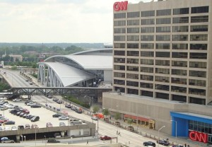 Philips Arena (right) CNN Center (left